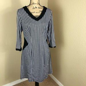 Poppy & Bloom Houndstooth Knit Stretch Dress 0X